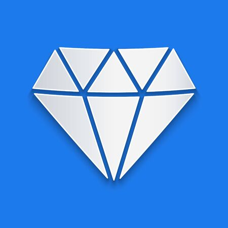 Paper cut Diamond icon isolated on blue background. Jewelry symbol. Gem stone. Paper art style. Vector Illustration