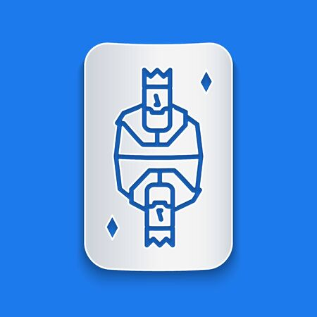 Paper cut King playing card with diamonds symbol icon isolated on blue background. Casino gambling. Paper art style. Vector Illustration