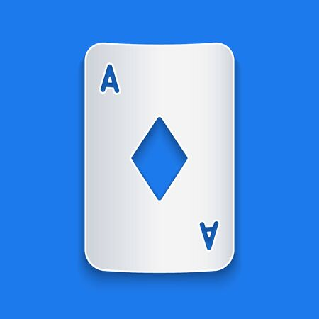 Paper cut Playing card with diamonds symbol icon isolated on blue background. Casino gambling. Paper art style. Vector Illustration