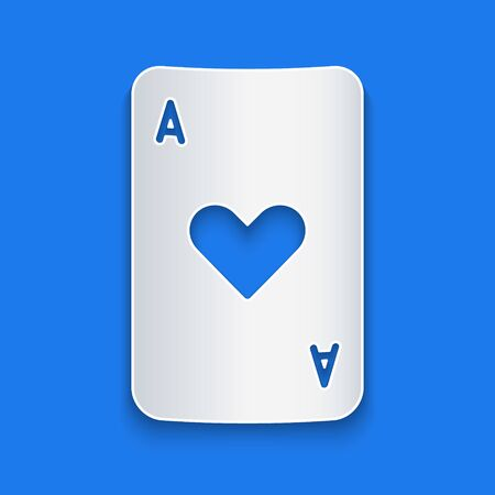 Paper cut Playing card with heart symbol icon isolated on blue background. Casino gambling. Paper art style. Vector Illustration 일러스트