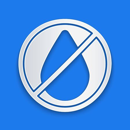 Paper cut Water drop forbidden icon isolated on blue background. No water sign. Paper art style. Vector Illustration Ilustração