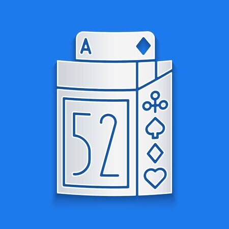 Paper cut Deck of playing cards icon isolated on blue background. Casino gambling. Paper art style. Vector Illustration