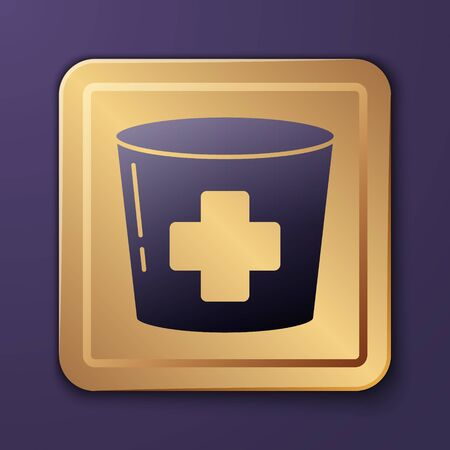 Purple Nurse hat with cross icon isolated on purple background. Medical nurse cap sign. Gold square button. Vector Illustration Иллюстрация