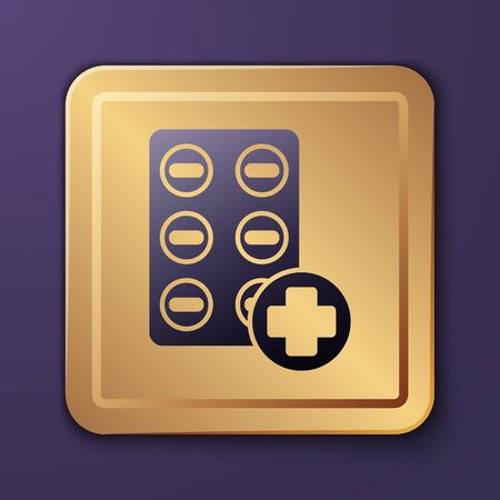Purple Pills in blister pack icon isolated on purple background. Medical drug package for tablet, vitamin, antibiotic, aspirin. Gold square button. Vector Illustration Иллюстрация