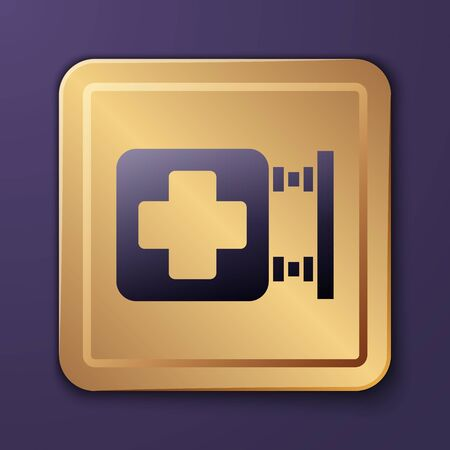 Purple Hospital signboard icon isolated on purple background. Gold square button. Vector Illustration Ilustracja