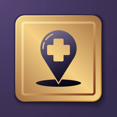 Purple Medical map pointer with cross hospital icon isolated on purple background. Gold square button. Vector Illustration Ilustracja
