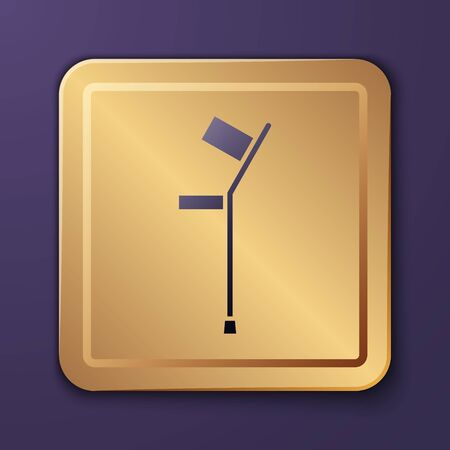 Purple Crutch or crutches icon isolated on purple background. Equipment for rehabilitation of people with diseases of musculoskeletal system. Gold square button. Vector Illustration Ilustrace