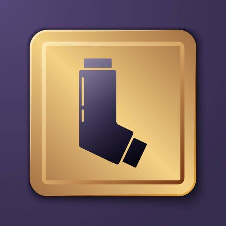 Purple Inhaler icon isolated on purple background. Breather for cough relief, inhalation, allergic patient. Medical allergy asthma inhaler spray. Gold square button. Vector Illustration