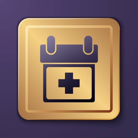 Purple Doctor appointment icon isolated on purple background. Calendar, planning board, agenda, consultation doctor. Gold square button. Vector Illustration
