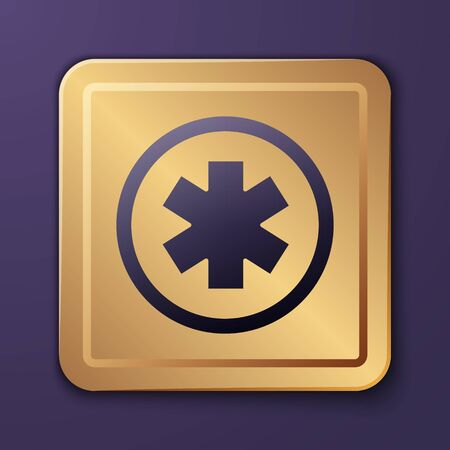 Purple Medical symbol of the Emergency - Star of Life icon isolated on purple background. Gold square button. Vector Illustration