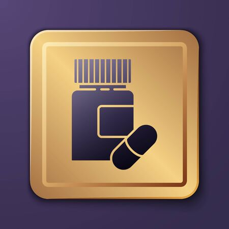Purple Medicine bottle and pills icon isolated on purple background. Bottle pill sign. Pharmacy design. Gold square button. Vector Illustration