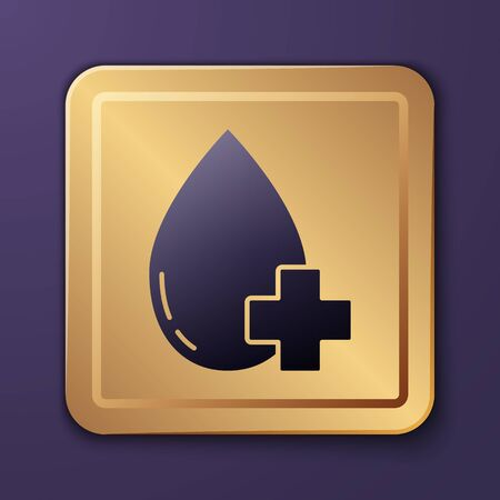 Purple Donate drop blood with cross icon isolated on purple background. Gold square button. Vector Illustration