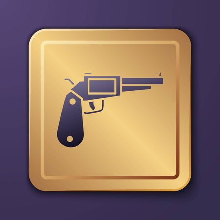 Purple Revolver gun icon isolated on purple background. Gold square button. Vector Illustration