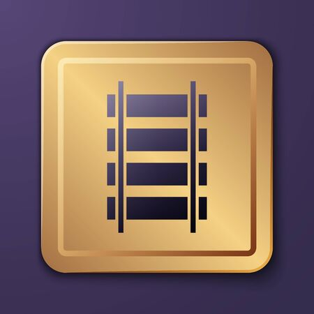 Purple Railway, railroad track icon isolated on purple background. Gold square button. Vector Illustration