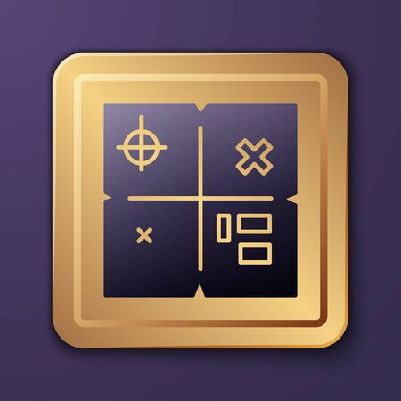 Purple Treasure map icon isolated on purple background. Gold square button. Vector Illustration Ilustracja
