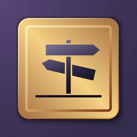 Purple Road traffic sign. Signpost icon isolated on purple background. Pointer symbol. Street information sign. Direction sign. Gold square button. Vector Illustration