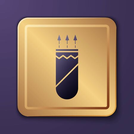 Purple Quiver with arrows icon isolated on purple background. Gold square button. Vector Illustration