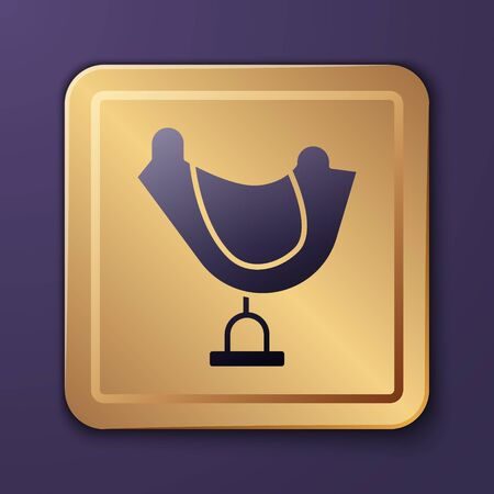 Purple Wild west saddle icon isolated on purple background. Gold square button. Vector Illustration
