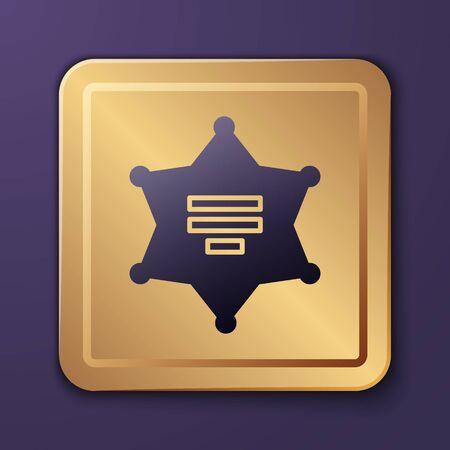 Purple Hexagram sheriff icon isolated on purple background. Police badge icon. Gold square button. Vector Illustration Illusztráció