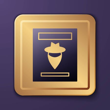 Purple Wanted western poster icon isolated on purple background. Reward money. Dead or alive crime outlaw. Gold square button. Vector Illustration