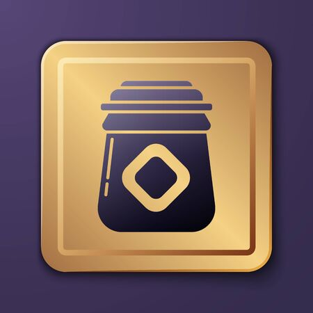 Purple Jar of honey icon isolated on purple background. Food bank. Sweet natural food symbol. Gold square button. Vector Illustration