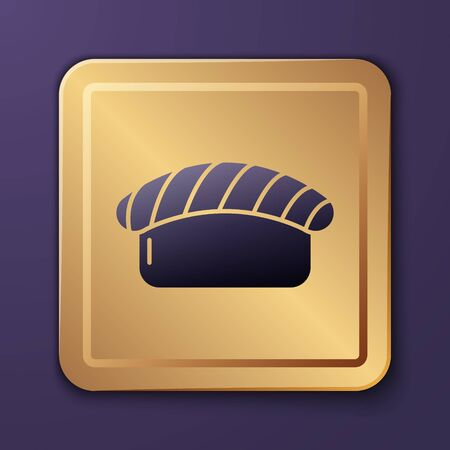 Purple Sushi icon isolated on purple background. Traditional Japanese food. Gold square button. Vector Illustration