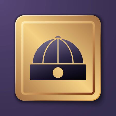Purple Chinese hat icon isolated on purple background. Gold square button. Vector Illustration