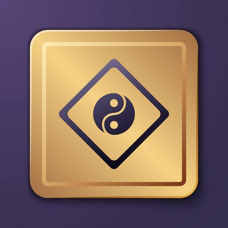 Purple Yin Yang symbol of harmony and balance icon isolated on purple background. Gold square button. Vector Illustration