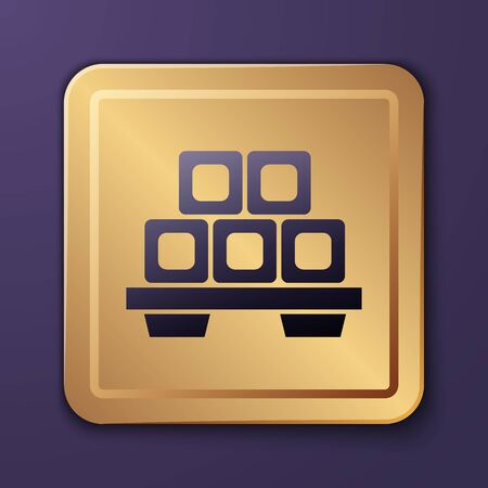 Purple Sushi on cutting board icon isolated on purple background. Asian food sushi on wooden board. Gold square button. Vector Illustration