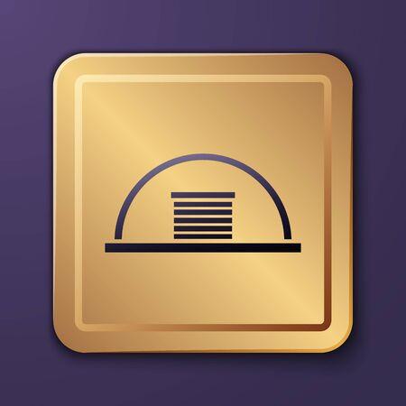 Purple Hangar icon isolated on purple background. Gold square button. Vector Illustration Illusztráció