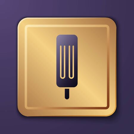 Purple Ice cream icon isolated on purple background. Sweet symbol. Gold square button. Vector Illustration