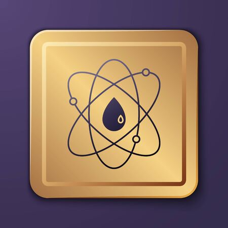 Purple Atom icon isolated on purple background. Symbol of science, education, nuclear physics, scientific research. Gold square button. Vector Illustration