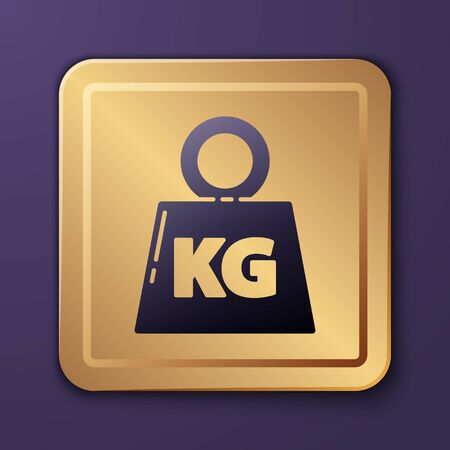 Purple Weight icon isolated on purple background. Kilogram weight block for weight lifting and scale. Mass symbol. Gold square button. Vector Illustration