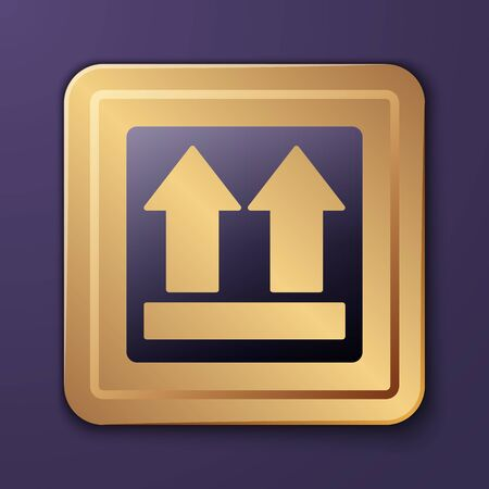 Purple This side up icon isolated on purple background. Two arrows indicating top side of packaging. Cargo handled. Gold square button. Vector Illustration Çizim