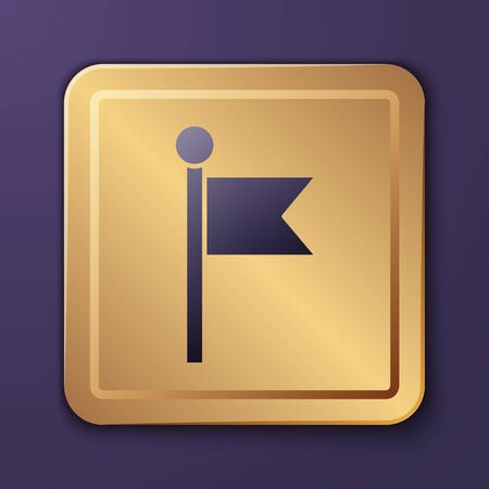 Purple Flag icon isolated on purple background. Location marker symbol. Gold square button. Vector Illustration Ilustracja