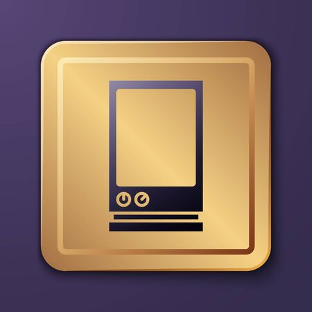 Purple Voice assistant icon isolated on purple background. Voice control user interface smart speaker. Gold square button. Vector Illustration Banque d'images - 140226568