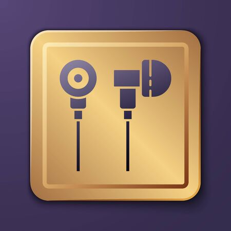 Purple Air headphones icon icon isolated on purple background. Holder wireless in case earphones garniture electronic gadget. Gold square button. Vector Illustration