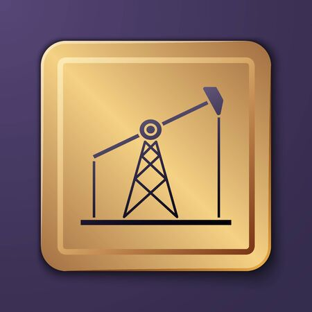 Purple Oil pump or pump jack icon isolated on purple background. Oil rig. Gold square button. Vector Illustration Stock Illustratie