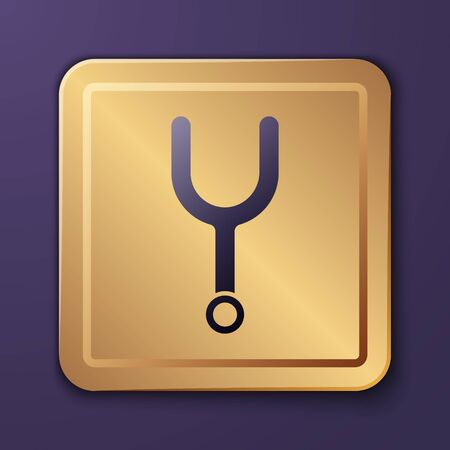 Purple Musical tuning fork for tuning musical instruments icon isolated on purple background. Gold square button. Vector Illustration