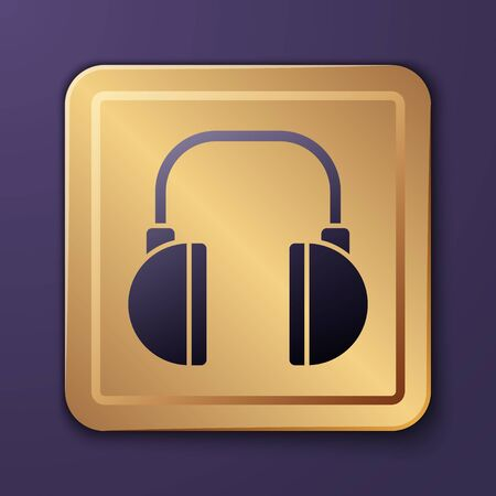 Purple Headphones icon isolated on purple background. Earphones. Concept for listening to music, service, communication and operator. Gold square button. Vector Illustration