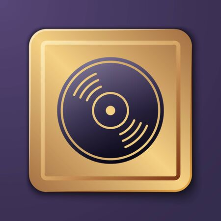 Purple Vinyl disk icon isolated on purple background. Gold square button. Vector Illustration Illustration