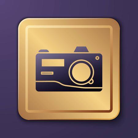 Purple Photo camera icon isolated on purple background. Foto camera icon. Gold square button. Vector Illustration Иллюстрация