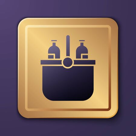 Purple Cooler bag and water icon isolated on purple background. Portable freezer bag. Handheld refrigerator. Gold square button. Vector Illustration Stock Illustratie