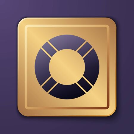 Purple Lifebuoy icon isolated on purple background. Life saving floating lifebuoy for beach, rescue belt for saving people. Gold square button. Vector Illustration Illusztráció