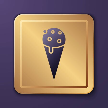Purple Ice cream in waffle cone icon isolated on purple background. Sweet symbol. Gold square button. Vector Illustration