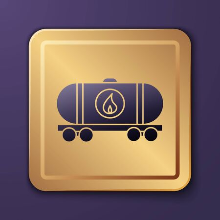 Purple Oil railway cistern icon isolated on purple background. Train oil tank on railway car. Rail freight. Oil industry. Gold square button. Vector Illustration Illustration