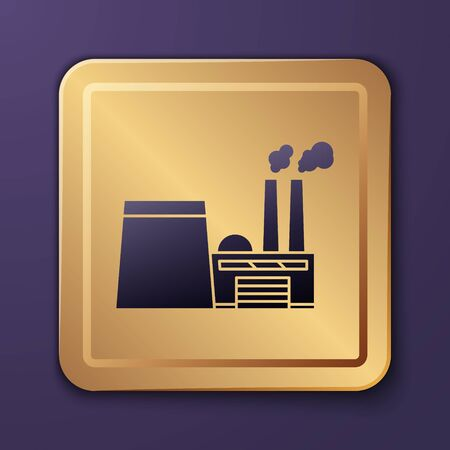 Purple Oil and gas industrial factory building icon isolated on purple background. Gold square button. Vector Illustration