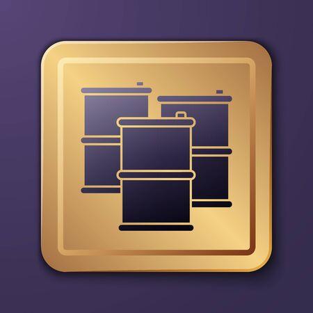 Purple Barrel oil icon isolated on purple background. Gold square button. Vector Illustration
