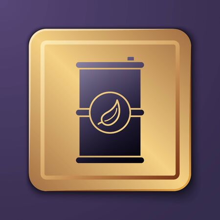 Purple Bio fuel barrel icon isolated on purple background. Eco bio and canister. Green environment and recycle. Gold square button. Vector Illustration