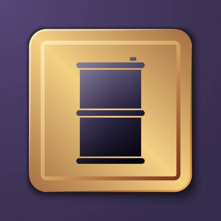 Purple Barrel oil icon isolated on purple background. Gold square button. Vector Illustration